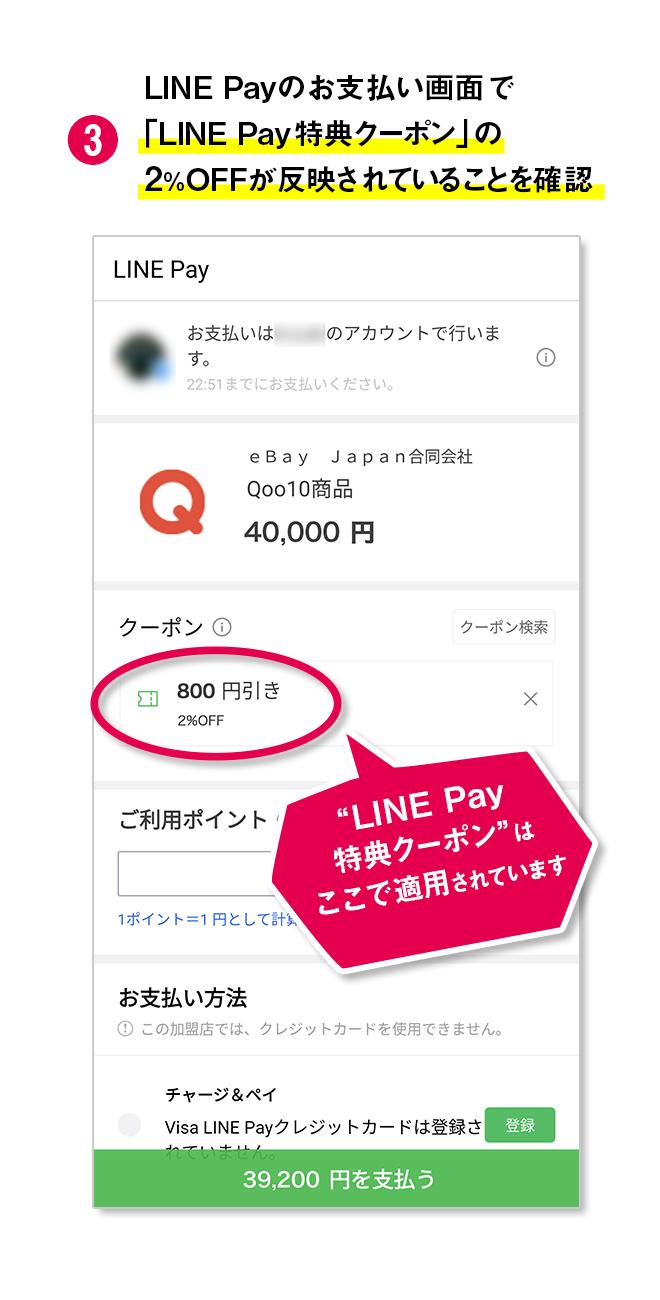 LINE Payのお支払い方法で「LINE Pay特典クーポン」の2%OFFが反映されていることを確認